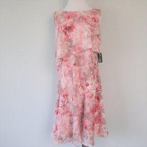 NWT Pink Blush Floral Ruffle Popover Midi Dress 6